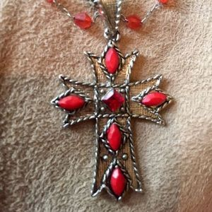 Vintage Necklace with Red Gems & Cross
